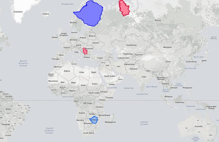 Stvarne veličine zemalja