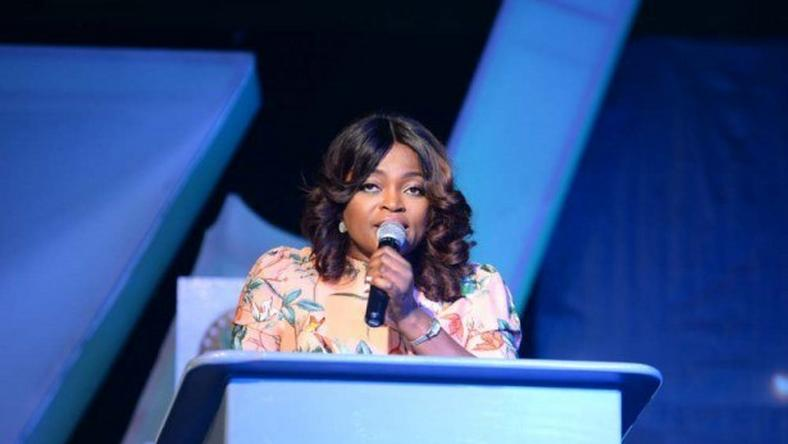 Funke Akindele speaking at the 4th edition of the Nigerian Entertainment Conference held on April 20, 2016.