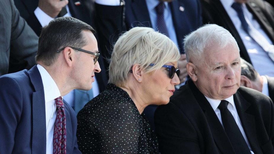 Mateusz Morawiecki, Julia Przyłębska i Jarosław Kaczyński