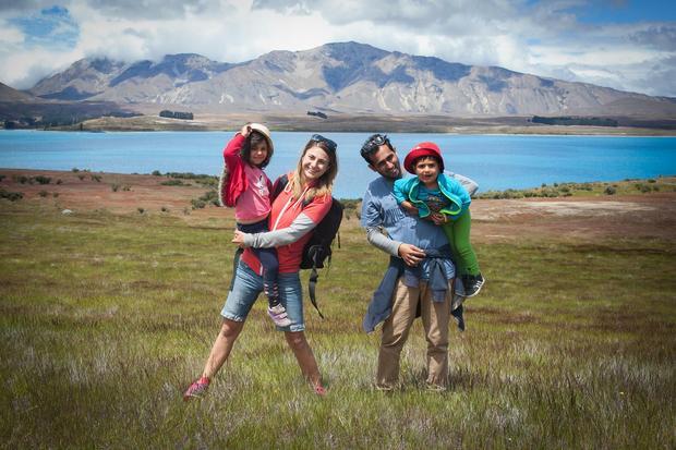 Cała rodzina nad Lake Mc Gregor