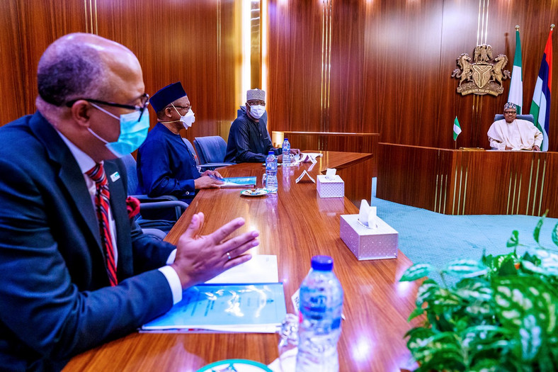 President Muhammadu Buhari receives briefing from Presidential Task Force on COVID-19 led by Chairman, Boss Mustapha; Minister of Health, Osagie Ehanire; Director General of the National Center for Disease Control (NCDC), Dr Chikwe Ihekweazu. [Twitter/@BashirAhmaad]
