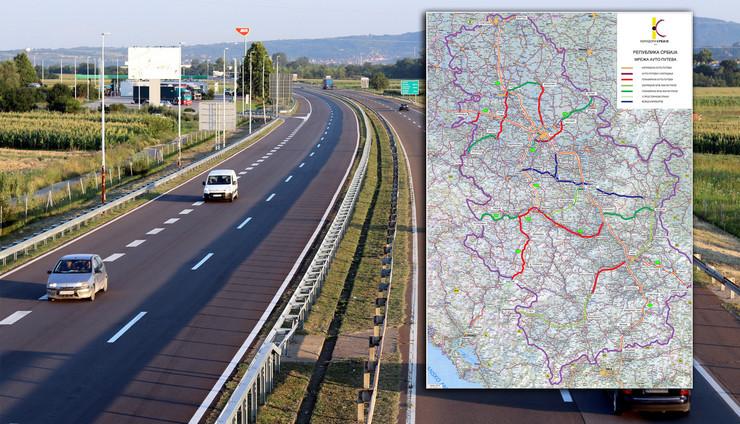 mapa mreza autoputeva RAS Tanjug Dusan Anicic, Koridori Srbije
