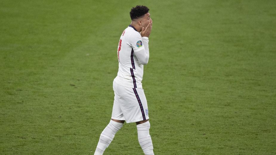 Jadon Sancho chwilę po nietrafieniu karnego w finale Euro 2020