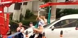 Kobieta zrobiła striptiz i tańczyła na rurze... lawety!