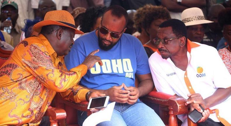 Opposition leader Raila Odinga, Mombasa governor Hassan Joho and Siaya senator James Orengo.
