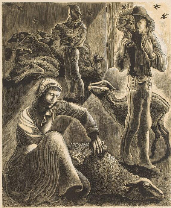 """Wystawa i aukcja """"Grafika artystyczna. Sztuka Dawna"""". Janina Konarska, """"W owczarni (Strzyżenie owiec)"""" (1938)"""