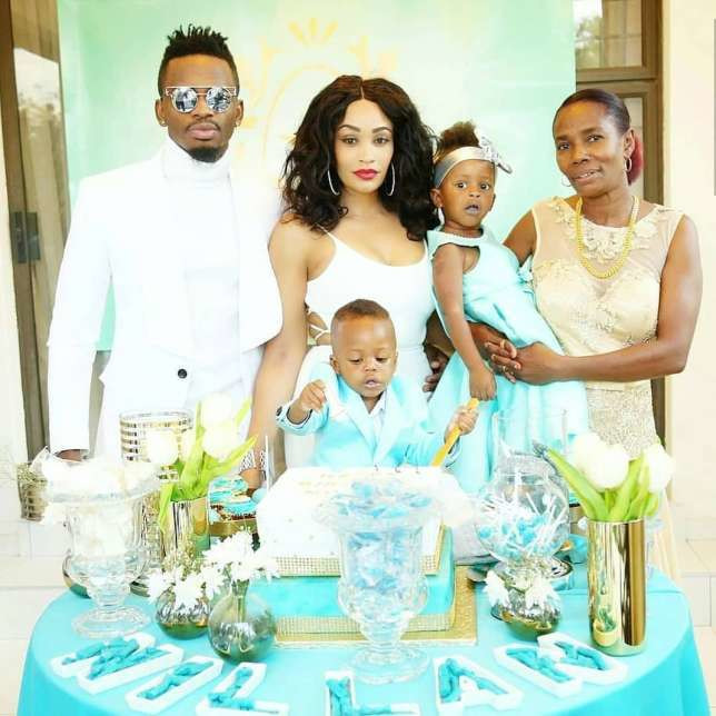 Diamond with his Kids Tiffah and Nillan, Zari and Mama Dangote.