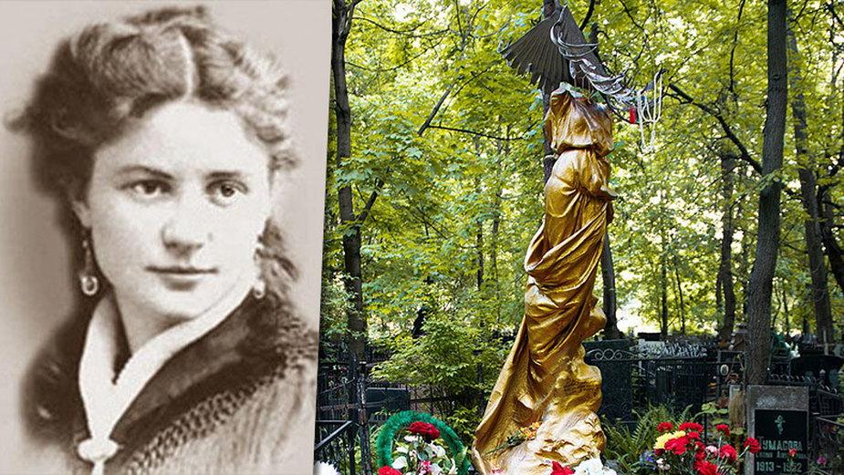 Sofia Bluwstein (fot. autor nieznany) i poświęcony jej pomnik na moskiewskim Cmentarzu Wagańkowskim (fot. Ksenia Braginskaya / wikipedia)