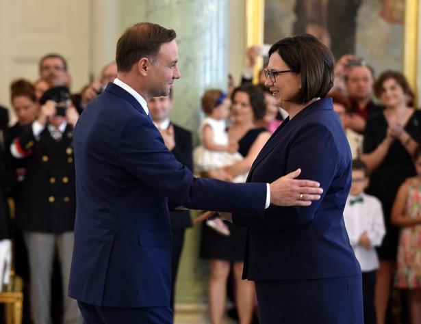 Prezydent Andrzej Duda i szefowa Kancelarii Małgorzata Sadurska