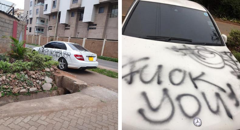 The vandalised car