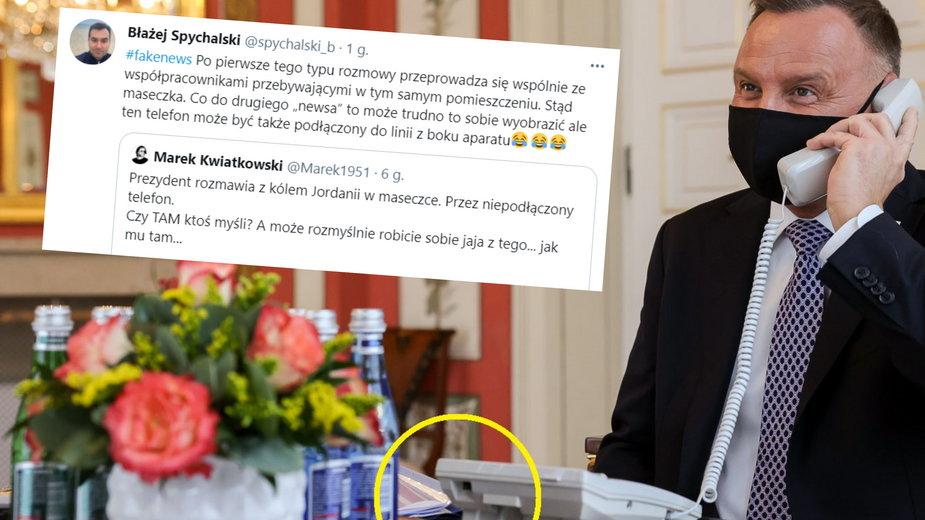Andrzej Duda rozmawiał przez niepodłączony telefon? Rzecznik zaprzecza