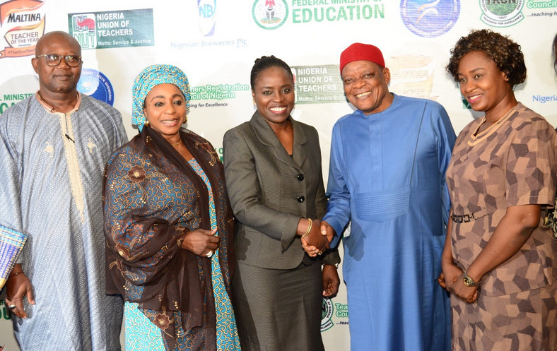 L-R; The President, All Nigeria Confederation of Principals of Secondary Schools (ANCOPSS), Principal Anselm Izuagie; Director, Basic & Secondary Education, Federal Ministry of Education, Dr. Lami Amodu; Corporate Affairs Director, Nigerian Breweries Plc., Mrs. Sade Morgan; Secretary General, Nigeria Union of Teachers (NUT), Dr. Mike Ene and the Lagos State Coordinator, Teachers Registration Council of Nigeria, Mrs. Grace Adewumi during the Flag Off Ceremony of the 2019 Maltina Teacher of the Year in Lagos recently.