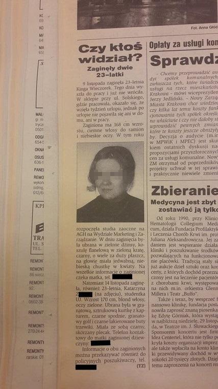 Po zaginięciu Kasi w lokalnej prasie ukazała się informacja o jej poszukiwaniach