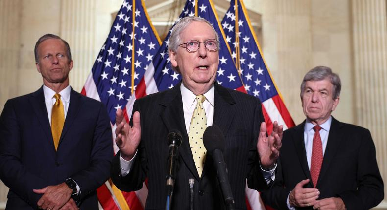 From left, Senate Minority Whip John Thune of South Dakota, Senate Minority Leader Mitch McConnell of Kentucky, and Senate Republican Policy Committee Chair Roy Blunt of Missouri.