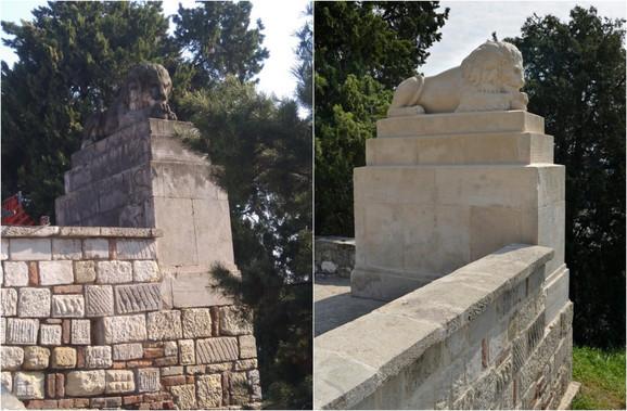 Naslage stare farbe nakon nestručnog prekrivanja grafita predstavljale su najveći problem prilikom restauracije skulpture lava