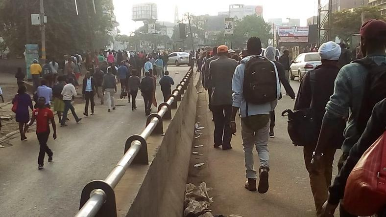 City dwellers walking as matatu CBD ban takes effect on Monday December 3, 2018