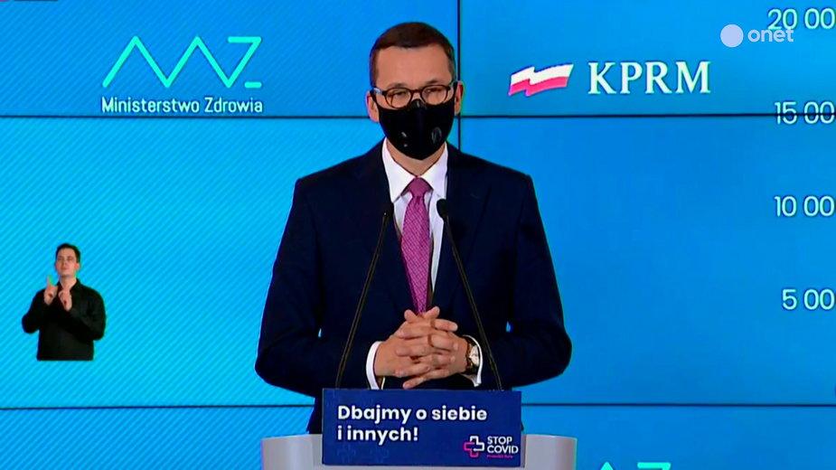 Koronawirus w Polsce. Premier Mateusz Morawiecki podczas konferencji prasowej