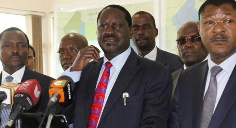 Opposition leaders Kalonzo Musyoka (Left), Raila Odinga and Moses Wetangula