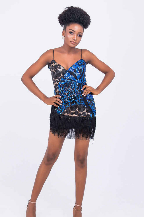 RIRI SEQUIN DRESS WITH FRINGES