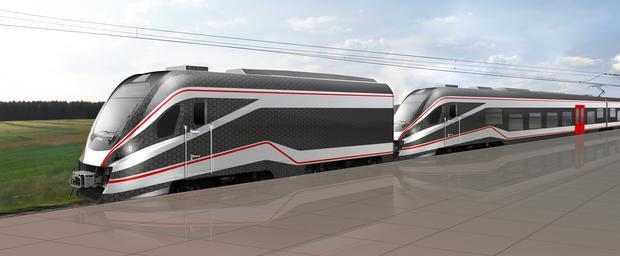 Wizualizacja pociągu zaprojektowanego przez Newag