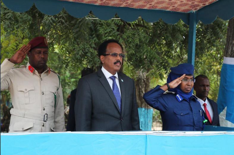 Somalia President President Mohamed Abdullahi Farmajo  with Brigadier General Zakia Hussen Ahmed.