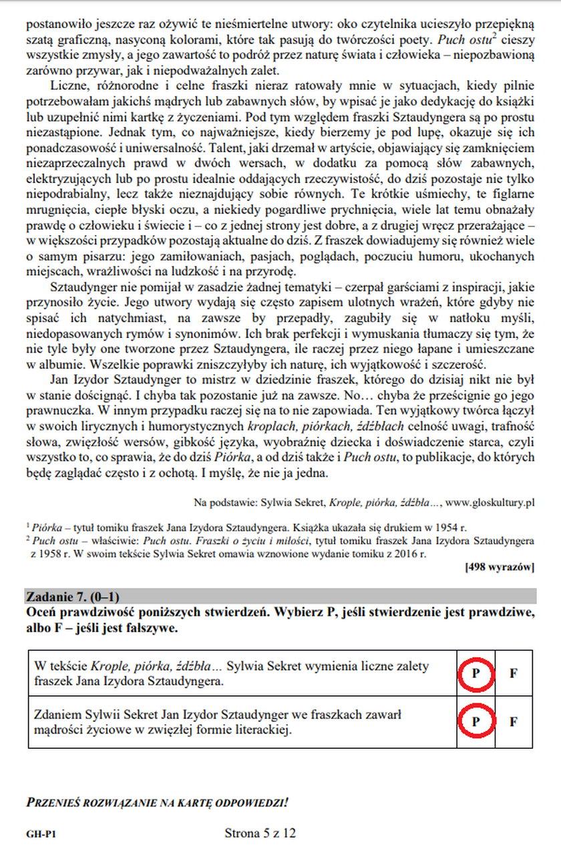 Egzamin gimnazjalny. Język polski. Zadanie 7