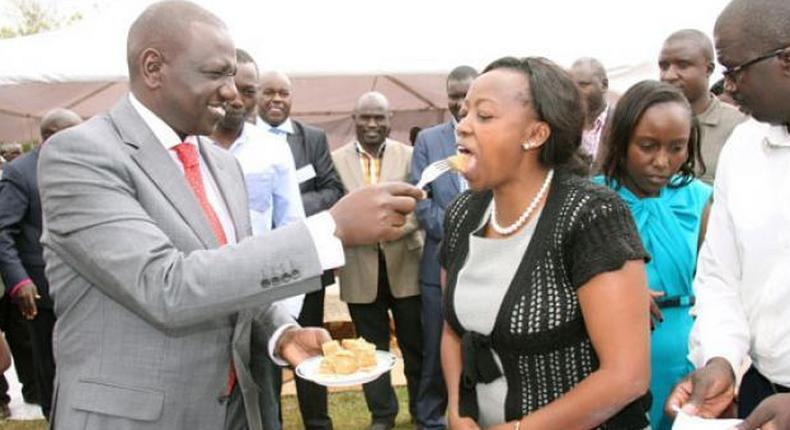 File image of DP Ruto sharing a piece of cake with his wife Rachel Ruto at a past event
