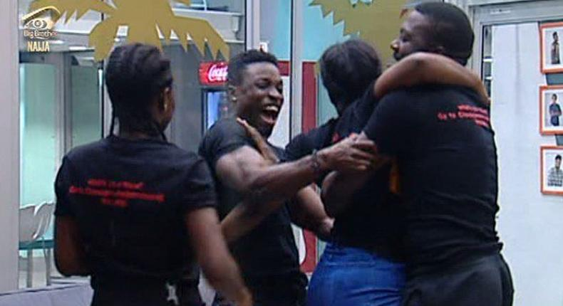 Jubilation as Team B win the Closeup alphabet games.