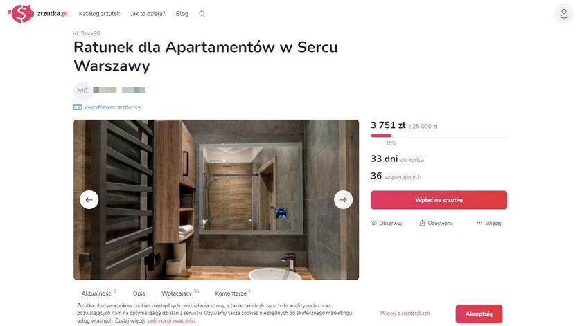 Zorganizował zrzutkę na ratowanie luksusowych apartamentów. W internecie burza