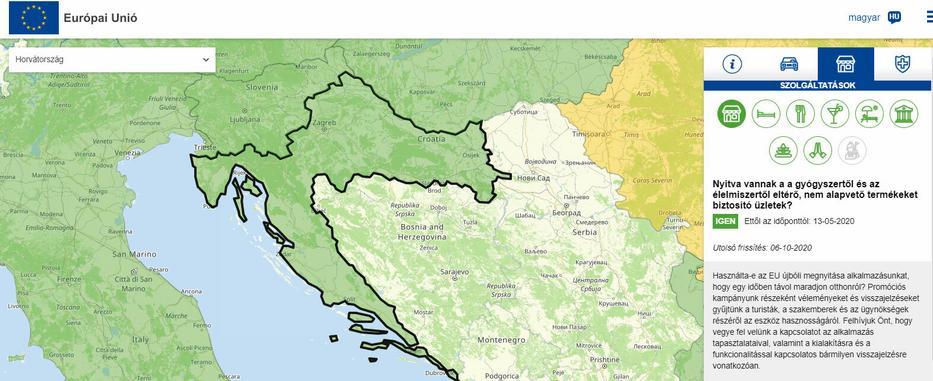 Az Európai Bizottság által készíttetett interaktív, európai turistatérkép Horvátországról / Forrás: reopen.europa.eu