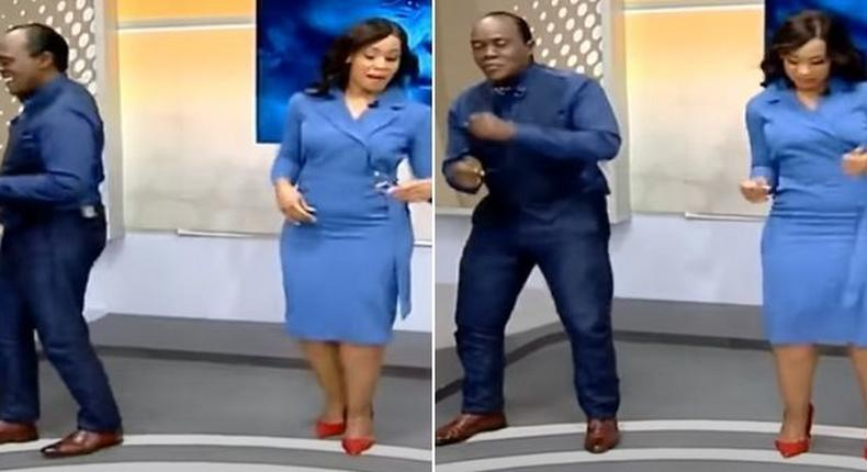 Jeff Koinange and Victoria Rubadiri dance in studio