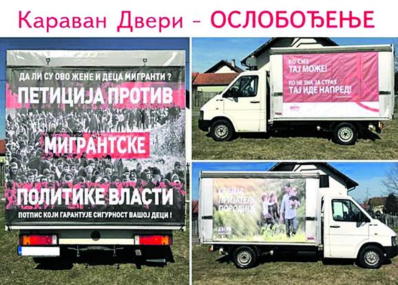 """Pripadnici Dveri su brendirali kamion, na ceradi odštampali fotografiju migranata na kojoj su muškarci, a preko nje ispisali """"da li su ovo žene i deca migranti"""""""