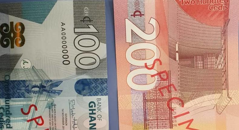 200 and 100 cedis notes