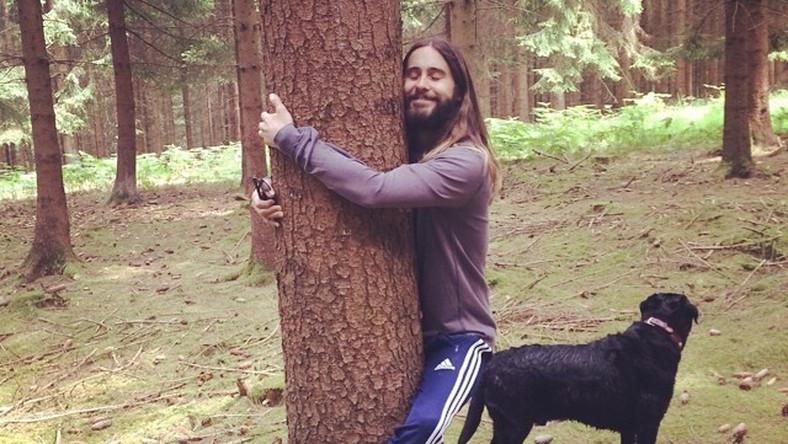 Muzyk i aktor na początku miesiąca wybrał się z psem na przechadzkę po lesie. Spędzając czas na łonie natury postanowił poprzytulać się do drzew. Zdjęcie z rozanielonym laureatem Oscara czule obejmującym drzewo trafiło do sieci i z miejsca zainspirowało internautów. Zaczęli oni robić rozmaite memy z przytulaśnym gwiazdorem w roli głównej...
