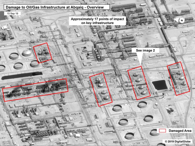 Satelitski snimci, napad na naftna postrojenja, Saudijska Arabija