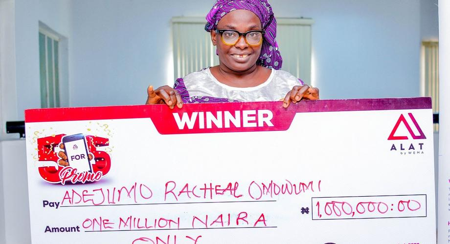 Adejumo Rachael, the one million naira winner of ALAT's 5 for 5 Promo in August 2021