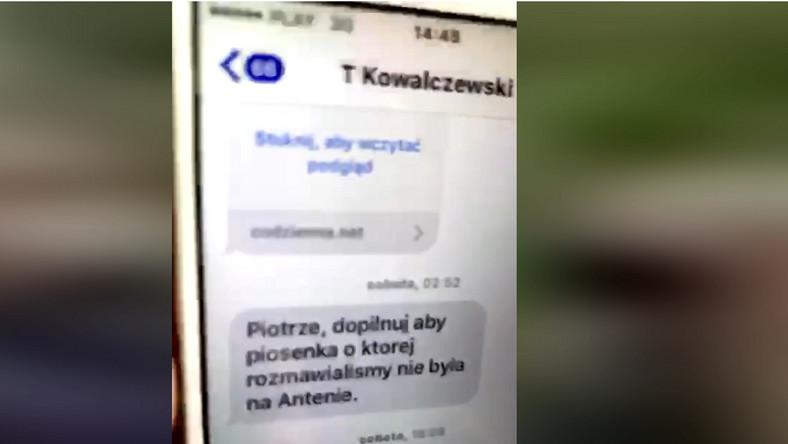 SMS od Tomasza Kowalczewskiego