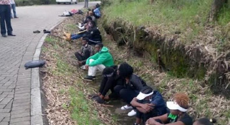 File image of youth arrested in Nakuru in the month of April at a time when Coronavirus Pandemic had disrupted normal life