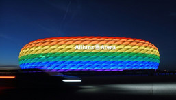 The Allianz Arena was lit in rainbow colours in 2016 for Munich's Christopher Street Day. Creator: Tobias Hase