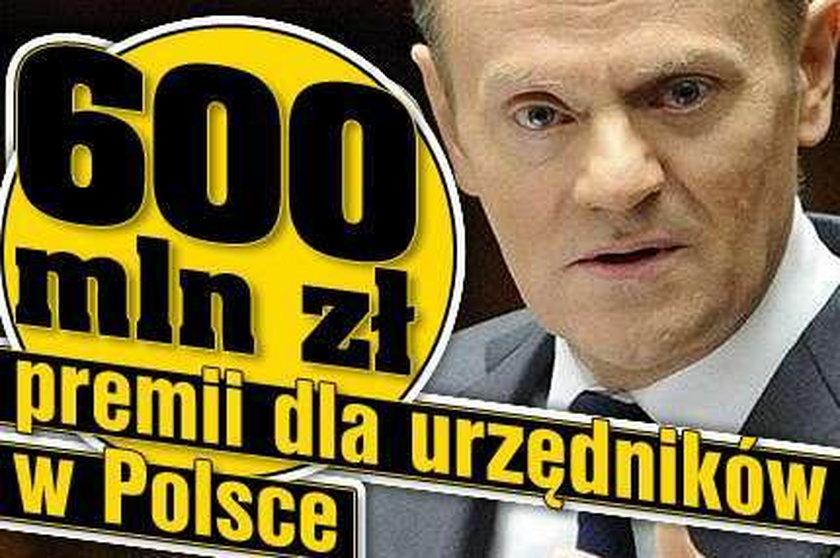 600 mln zł premii dla urzędników w Polsce