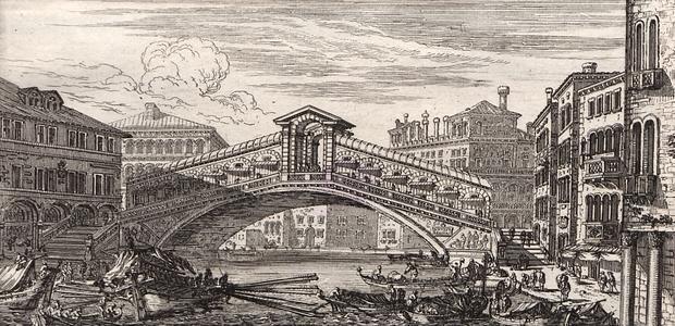 Wenecję zwiedzał Radziwiłł kilkakrotnie. Na grafice z 1651 roku most Rialto, wybudowany w latach 1588-1591,  otaczająca go zabudowa należy do najstarszej w mieście.
