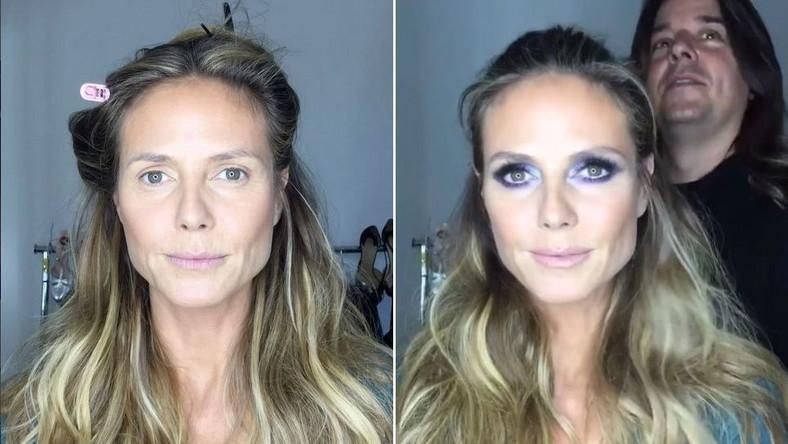 Heidi Klum przed i po nałożeniu makijażu