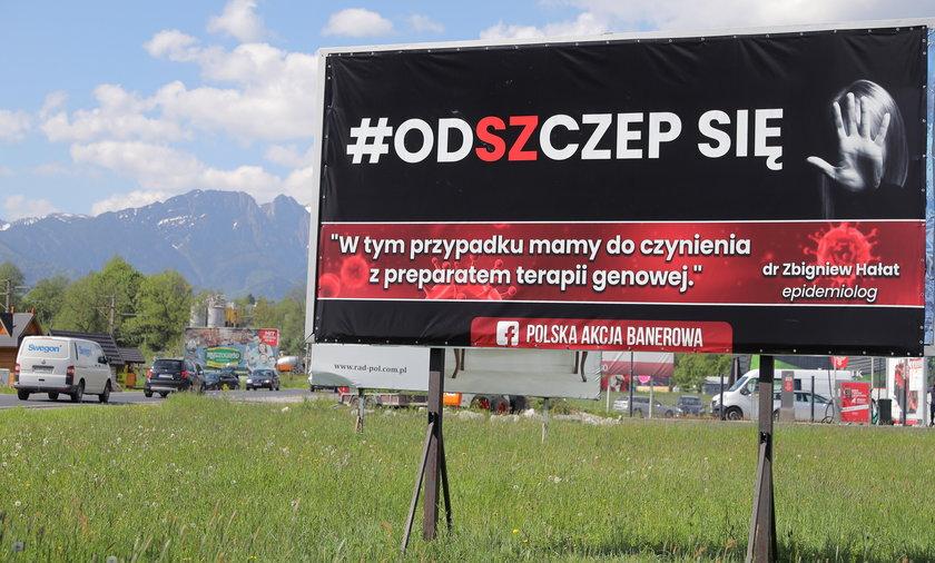 Billboardy antyszczepionkowców pojawiły się na Podhalu..