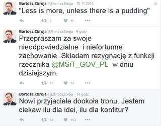 Rzecznik MSiT: Kłopotliwy wpis na Twitterze i dymisja
