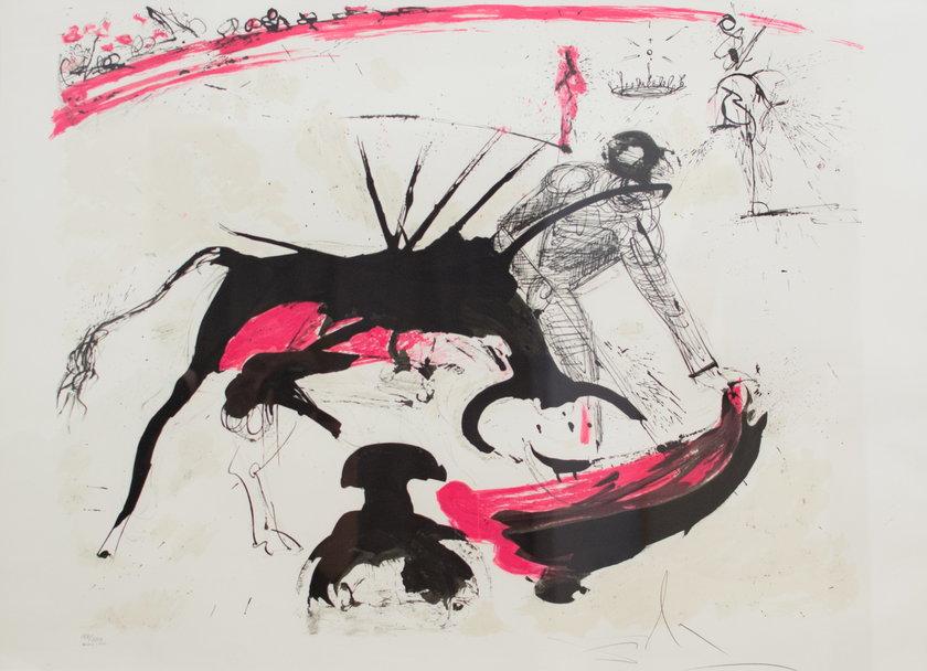 Salvador Dali, Walka byków nr 3, 1965 r. litografia, 55 x 75 cm, edycja: 188/300, kolekcja prywatna