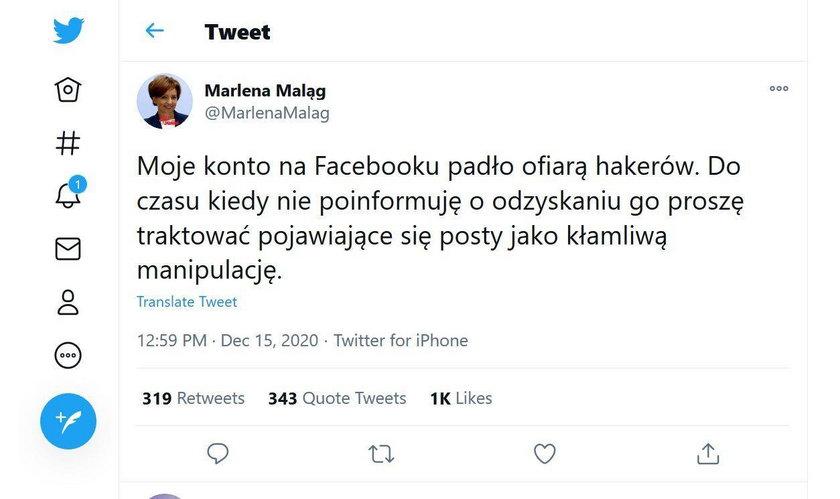 Oświadczenie minister Maląg