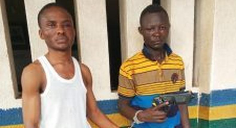The suspect and his accomplice arrested by police for planning his of own robbery in Ogun. [NAN]