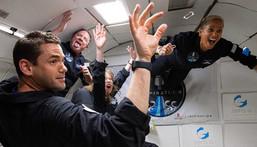 The Inspiration4 crew enjoys weightlessness on a parabolic flight, July 11, 2021.