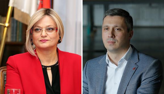 Jorgovanka Tabaković, guverner NBS i Boško Obradović, šef poslaničke grupe Dveri