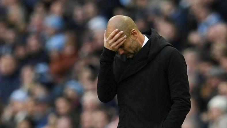 Manchester City's Spanish manager Pep Guardiola reacts on the touchline during the English Premier League football match between Manchester City and Middlesbrough at the Etihad Stadium in Manchester, north west England, on November 5, 2016